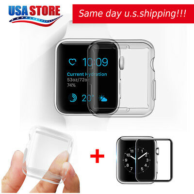 Apple Watch Series 3 / 2 Tempered Glass Screen Protector+Soft TPU Case 38/42mm