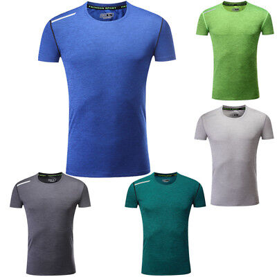 Sport Men's Gym Running T-Shirts Quick Dry Stretch Fitness Muscle Dress Tee Tops
