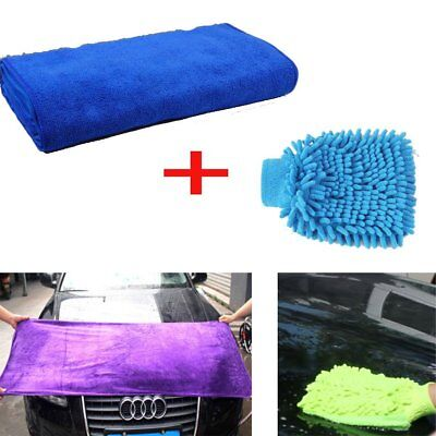 70x30cm Large Microfiber Cleaning Towel + Washing Glove for Car Kitchen House
