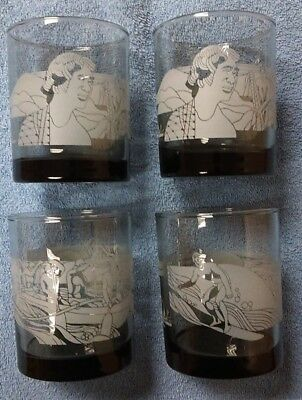 4 Vintage McDonalds Hawaii Scenes Hawaiian Tiki Bar Smoke Glasses 1980s