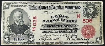 Series 1902 $5.00 National Currency from The Eliot National Bank of Boston, MA!