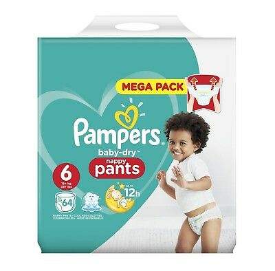 Mega Pack 64 Couches Culottes Pampers baby-dry Nappy Pants Taille 6     -706836-