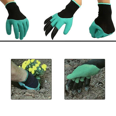 2 Pairs Reusable Plants Digging Gloves + 4 Black Plastic Claws Gardening Gloves