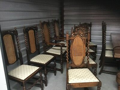 Ten Antique Dining Chairs and table