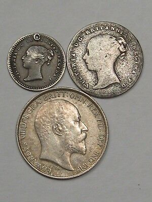 3 Old Sterling Silver Great Britain Coins: 1839 4P, 1843 1½P & 1902 6P.  #42
