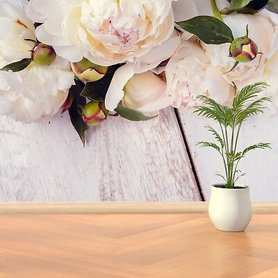 Paper Wall Mural Photo Wallpaper Poster Picture Image White peonies