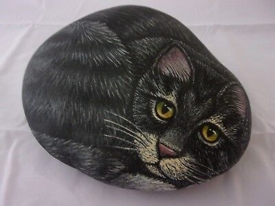 "Large 8"" Grey Black Curled Up Kitty Cat Folk Art Painted Rock Boulder"