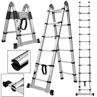 Folding 12.5ft Aluminum Platform Step Stool Portable Working Telescopic Ladder