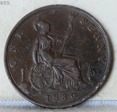 """1889 Great Britain One Penny """"VF+"""" *Free S/H After 1st Item*"""