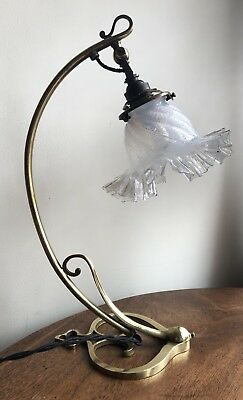 Arts & Crafts/ Art Nouveau Swan Neck Adjustable Lamp / Light With Glass Shade