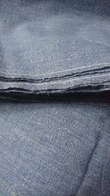 5 METRES BEAUTIFUL ANTIQUE FRENCH NARROW LOOMED CHAMBRAY LINEN c1890 UNUSED