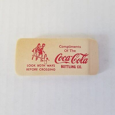 Vintage 60s Coca Cola Eraser ~ White with Red Lettering~ PSA Advertisement