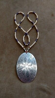 Hand Engraved Silver Gorget & Wampum Style Necklace Eastern Woodland Longhunter