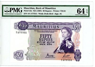Mauritius ... P-33c ... 50 Rupees ... ND(1967) ... *CH UNC* ... PMG 64