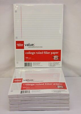 Office Depot College Ruled Filler Paper ~ Loose Leaf ~ 900 Sheets