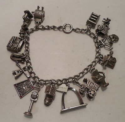 Vintage- Antique- 15 Charms- Movable Charms- Sterling Silver- Charm Bracelet