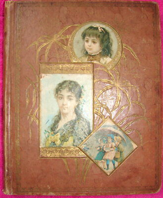 Victorian scrapbook trade cards & ephemera - 22 Pages both sides.  Sold as is.