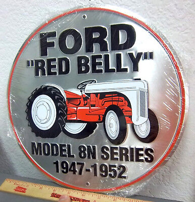"""FORD Red Belly Tractor embossed 12"""" metal sign, model 8N, 1947-1952, USA made"""