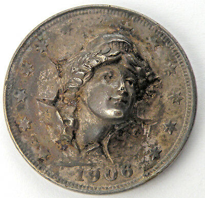 Vintage 1906 Repousse Liberty Pop Out Barber Nickel