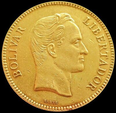 1887 Gold Venezuela 100 Bolivares Coin About Uncirculated Condition