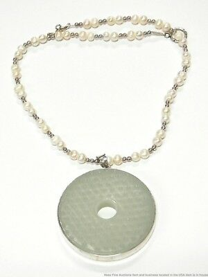 Vintage Huge Silver Carved Stone Chinese Medallion Cultured Pearl Necklace CNX
