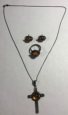 Amber Sterling 925 Necklace With Pendant Earrings And Ring Set