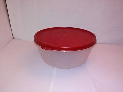 Vintage Retro Round Clear White Round Tupperware Container with Red Lid #1700