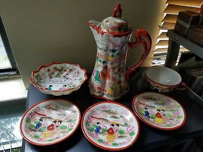 Vintage Japanese Hand Decorated Kutani Geisha Girls Tea Coffee Pot Set