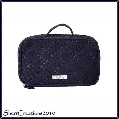 NWT Vera Bradley Microfiber Blush & Brush Make-up Bag Cosmetic Travel Case Navy