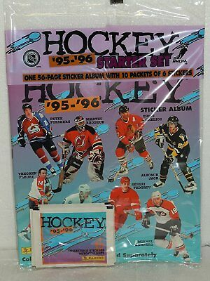 Panini NHL Hockey '95-'96 Starter Set Sticker Book Album W/10 Packs of Stickers