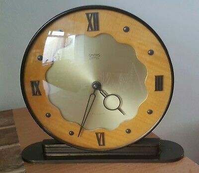 Vintage Smiths 4 Jewels 8 Day Mantel Clock Art Deco Eight Day