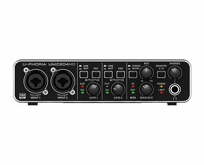 Behringer UMC204HD USB Computer Interface w/ Midas Preamps - Ships FREE U.S.