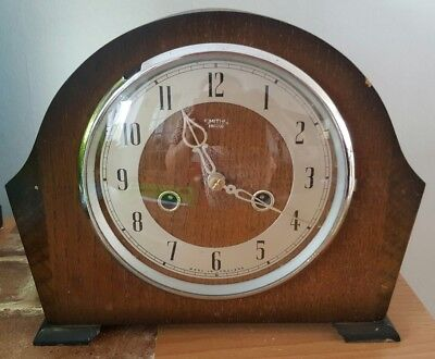 Vintage Smiths Enfield Chimes Clock 8 day 1930s Oryginal Made in England