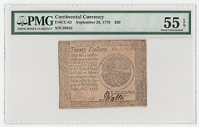 Continental Currency Fr#CC-82 Sept 26, 1778 $20 (PMG 55 EPQ About Uncirculated)