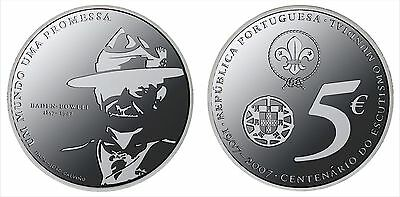 World Scouting Baden Powell 5 Euros Silver 2007 Unc Coin Portugal