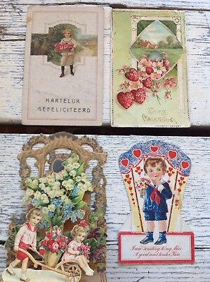 #58 Fun Lot Of 4 Vintage 1920S Valentines Cards Postcards 3D Germany