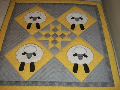New Handmade Baby Girl Boy Quilt Crib Lap Throw Blanket Sheep Yellow Patchwork