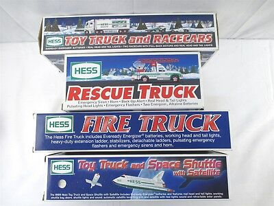 Hess 1992-2003 Toy Truck Lot of 3 Fire Truck Rescue Space Shuttle Racecars