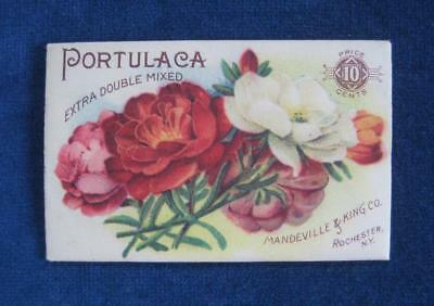 Late 1890's Antique MANDEVILLE & KING Co. Seed Pack Packet: PORTULACA Litho