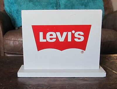 Rare Vtg Levis Jeans Wooden Advertising 2 Sided Free Standing Store Display Sign