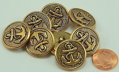 """144 Pcs Puffed Antiqued Brass Tone Metal Buttons Anchor Nautical 7/8"""" 23MM 6138"""