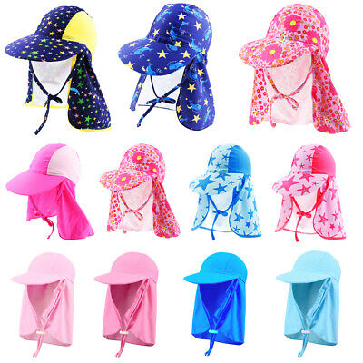 Baby Kids Swimming Cap Neck Protector Beach Sun Hats for Boys Girls Outdoor Hat
