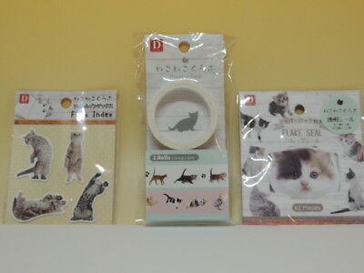 Cat die-cut stickers Washi tape Film index set new from Japan