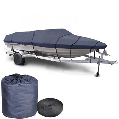 "16 17 18' Trailerable Fish Ski Boat Cover 600D V-Hull Beam 95"" w Oxford Bag Blue"