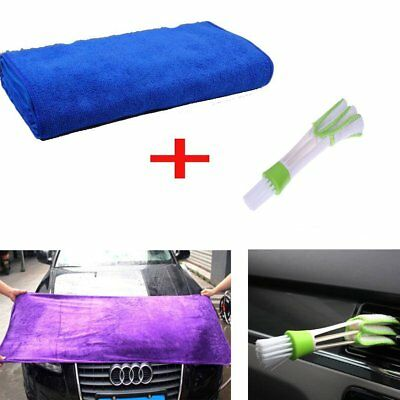 27x11.7 Inch Large Microfiber Cleaning Towel + Car Air Condition Dust Brush New