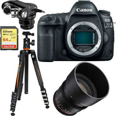 Canon EOS 5D Mark IV 30.4MP DSLR Camera (Body) + Rokinon 85mm Cine Lens Bundle