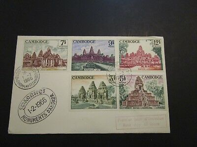 Cambodia 1966 Monuments First Day Cover / Small Corner Creases - Z3702