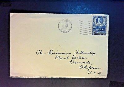 Nigeria 1936 Cover to USA - Z906