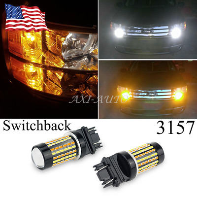 4157NA White Amber Dual Color Switchback LED Turn Signal Light Bulbs pair 120SMD