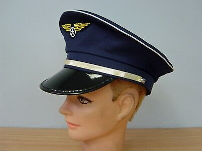 Pilot Aviator Hat Cap Airline Occupation Uniform Fancy Costume Party Accessory